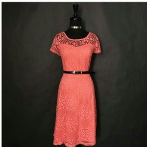 CATO PEACH FULLY LINED LACE DRESS (L)